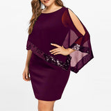 Women Chiffon Plus Size Cold Shoulder Asymmetric Sequin Straight Dress Party Night Sundress