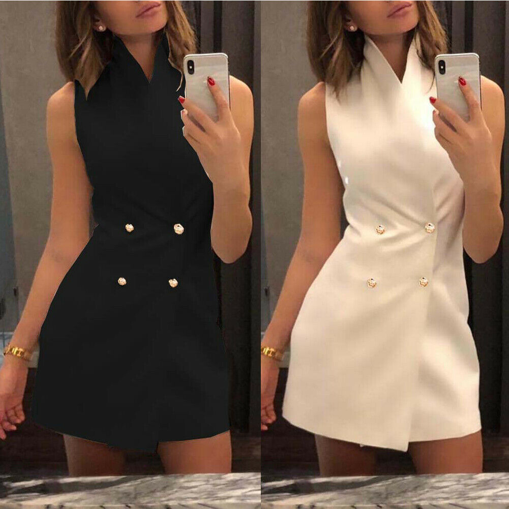 Women Collar Sleeveless Blazer Double Breasted Short Dresses Lapel Button Solid Dress