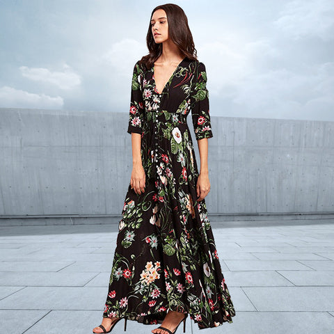 Women Dress Vintage Floral Print Chiffon V Neck Half Sleeve Maxi Split Hem Drawstring Loose Dresses