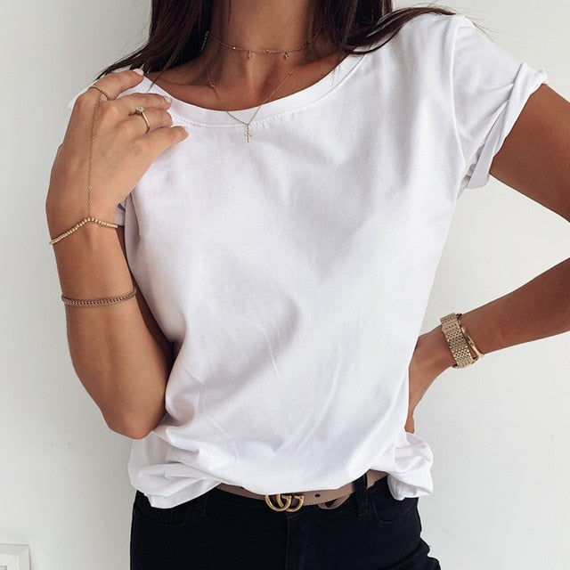 Women Lips Print Short Sleeve Blouse Shirts Summer O Neck Pullover Blouses Casual Solid Color Tops