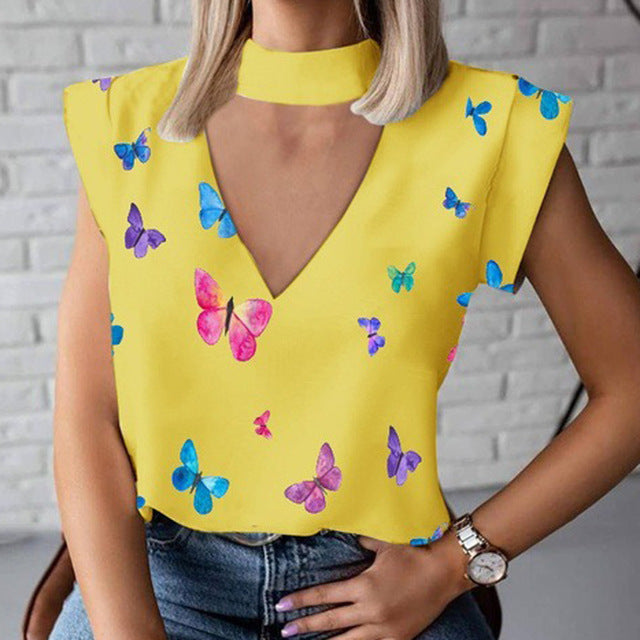 Women Lips Print Blouse Shirts Summer Casual Stand Neck Pullovers Tops Cute Eye Short Sleeve