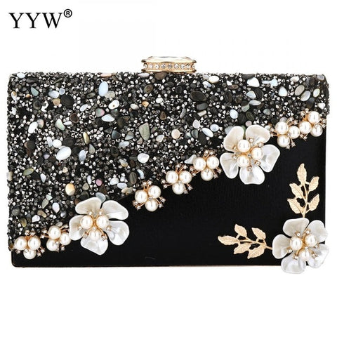 Women Evening Bag Flower Wedding Party Clutch Purse Rhinestone Chain Cross Body Bags