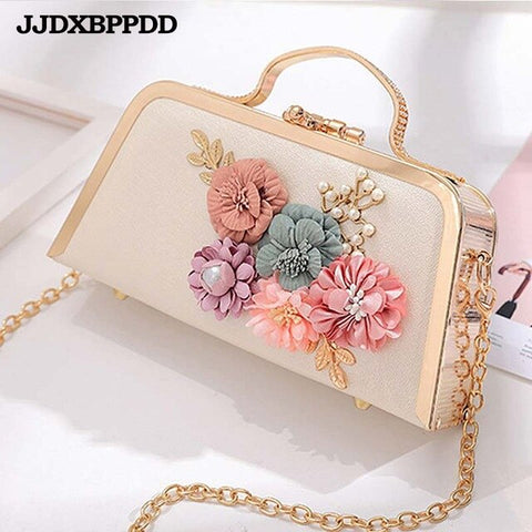 Women Stereo Flowers Shoulder Bag Small Vintage Tote Purse Chain Handbag Messenger Clutch Bags