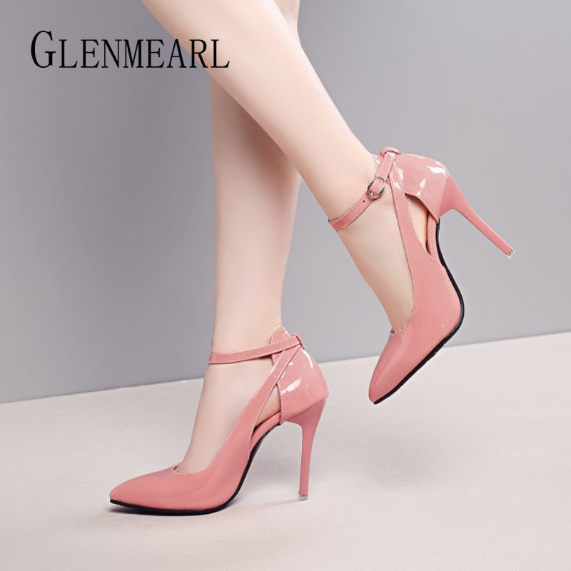 Women High Heel Pumps Summer Shoes Heels Pink Buckle Strap Wedding Pointed Toe Casual Shoes Plus Size