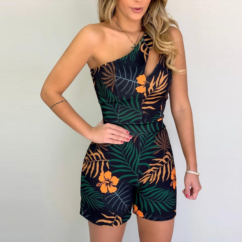 Funic Womens Off Shoulder Floral Print Holiday Mini Playsuit Ladies Shorts Romper Jumpsuit