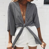 Women Kimono Loose Cardigan Shirt Cotton Black V Neck Striped Print Bow Summer Blouse Plus Size