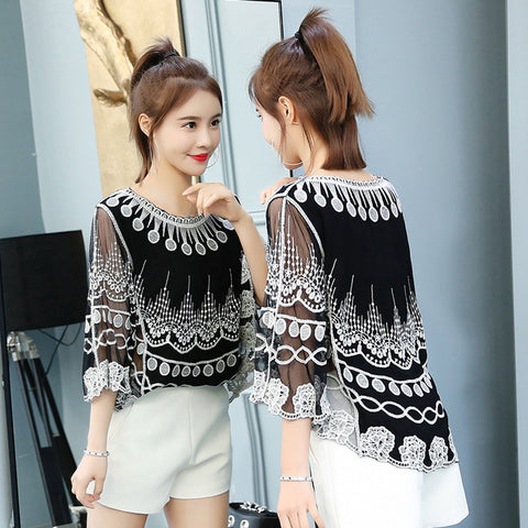 Women Lace One Size Shirt Summer O Neck Printing Lace Shirt Knit Hollow Flower Blouse Tops