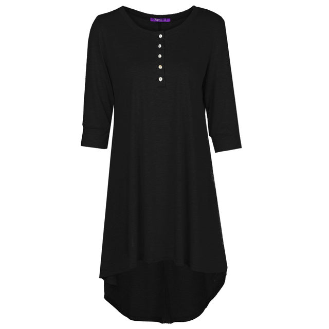 Women Mini Dresses Plus Size Basic Shirt Button Front O Neck Half Sleeve Irregular Hem Casual Dress