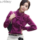 Women Blouse Tops Ruffle Stand Collar Chiffon Shirt Autumn White Long Sleeve Office Shirts