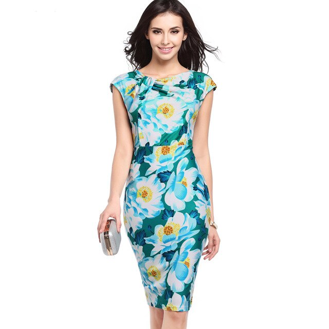 Women Print Pencil Dresses Long Summer Casual Office Elegant Party Dresses