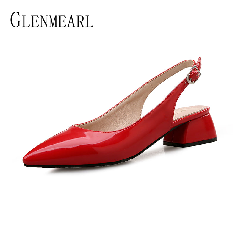 Women Pumps High Heels Shoes Patent Leather Thick Heel Shoe Buckle Strap Pointed Toe Wedding Shoes
