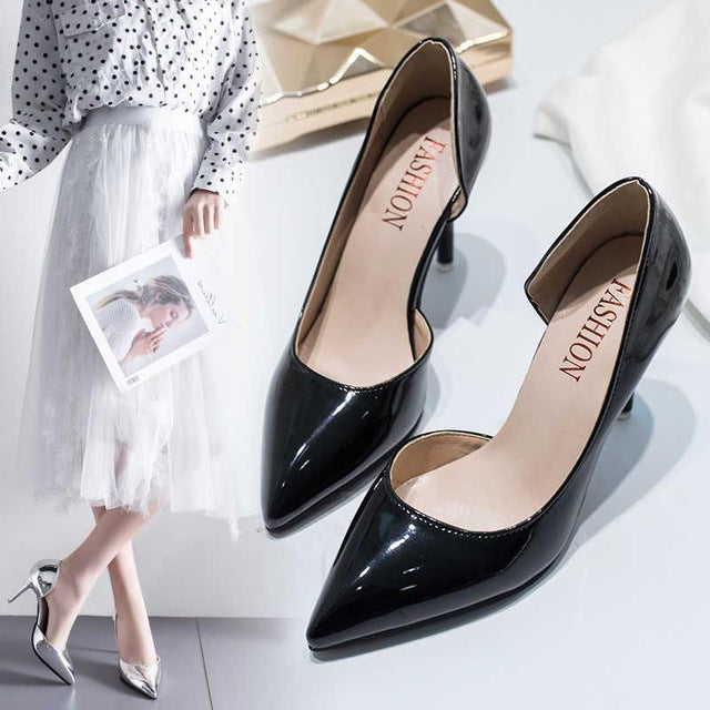 Women Pump Mid Heel Pointed Toe Casual Shoes Sandals High Heels Wedding Pumps Gold Silver