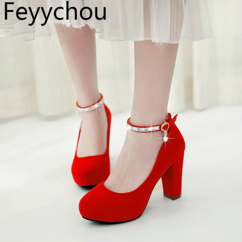 High Heels Shoes Women Mary Janes Thick High Heel Pumps Autumn Fall Footwear Red Black White Apricot