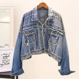 Women Punk Denim Jackets Coats Streetwear Tassel Short Batwing Denim Sherpa Sequin Jacket Outerwear