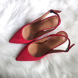 Women Sandals Shoes Thin High Heels Flock Point Toe Summer Casual Pumps Party Plus Size Shoes