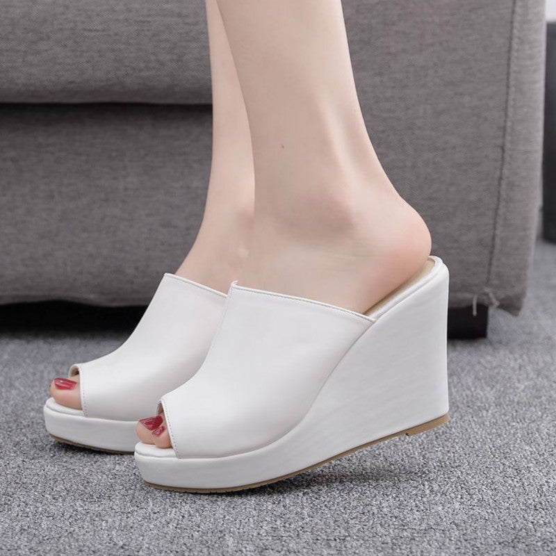 Women Sandals Shoes Slip-On Wedges High Heels Shallow Peep Toe Non-slip Slippers Pumps Shoes Plus Size
