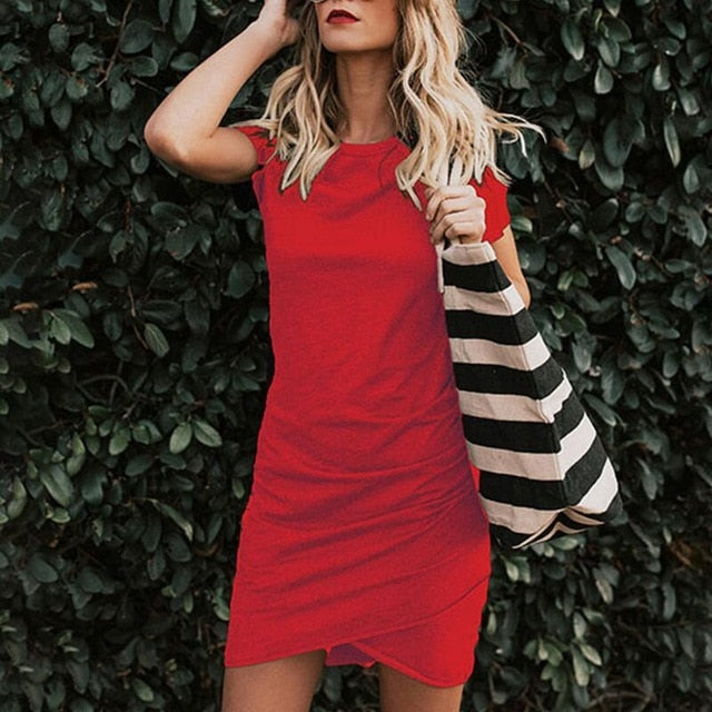 Women Mini Dress Summer Short Sleeve Party Bodycon Beach Dresses