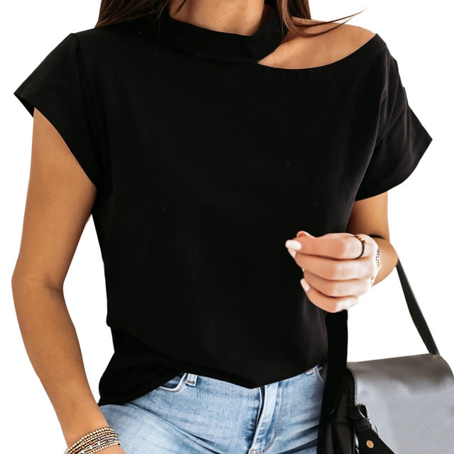 Women Off Shoulder Solid Shirts Summer Short Sleeve Tops Casual Loose Halter Backless Blouses