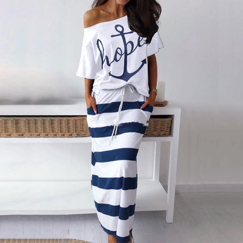 Women Off Shoulder Hope Boat Anchor Print T-Shirt Top Striped Summer Casual 2 Piece Skirt Sets