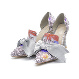 Women High Heel Velvet Bow Pointed Toe Two-Piece Strange Pearl Heel Stiletto Party Shoes Pumps