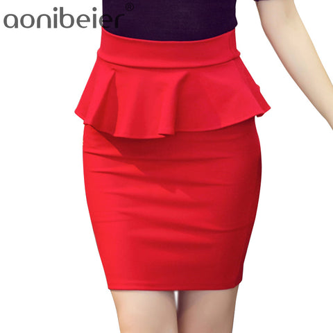 Women Skirts Lotus Leaf Slim Stretch High Waist Pack Hip Skirt Summer Autumn Pencil Skirts