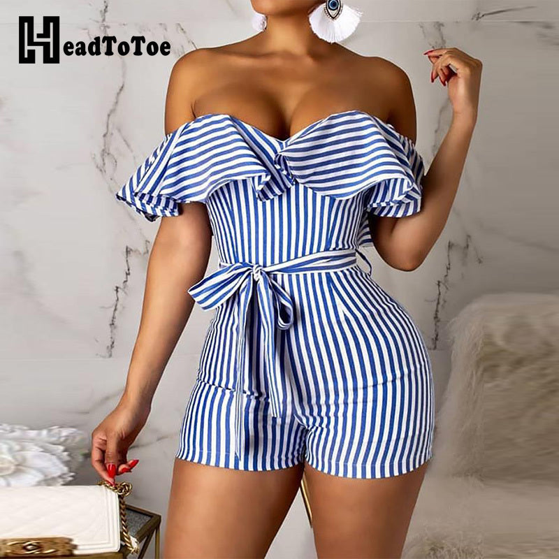 Women Striped Off Shoulder Ruffles Design Romper Bowknot Playsuit One Piece Jumpsuit Overalls