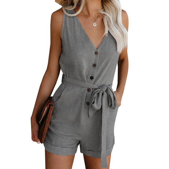 Women Summer Off Shoulder Belted Tunic Sleeveless Playsuit Solid Casual V-neck Short Home Jumpsuit
