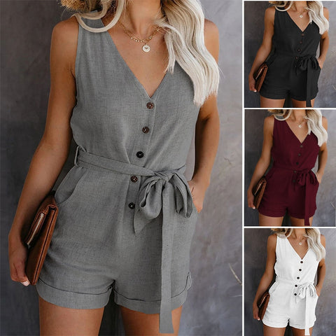 Women Strap Mini Playsuit Summer Shorts Jumpsuit Beach One Piece Beach Wear Overalls