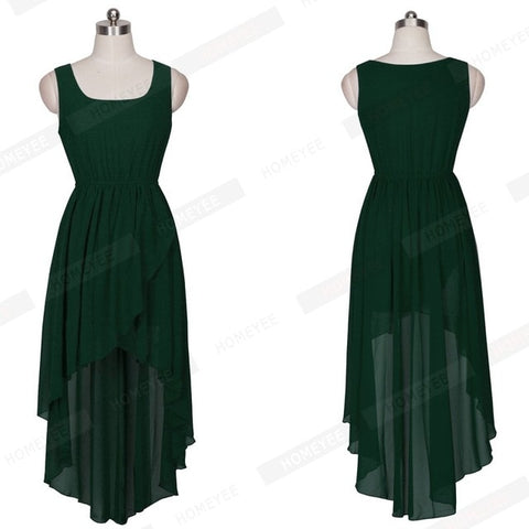 Women Summer Sleeveless Long Dresses Contracted Asymmetric Irregular Hem Chiffon Party Dress