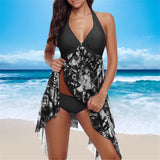 Women Swimwear Set Floral Print Plus Size Two Piece Swimsuit Beach Irregular Hem Bathing Suit