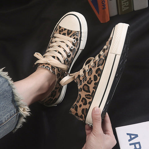 Women Vulcan Shoes Leopard Sneakers Flat Casual Shoes