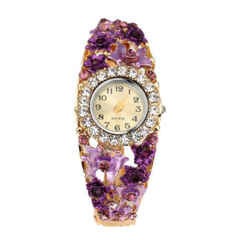Women Alloy Crystal Bracelet Flower Wrist Watch Clock Quartz Watches Rhinestone Quartz