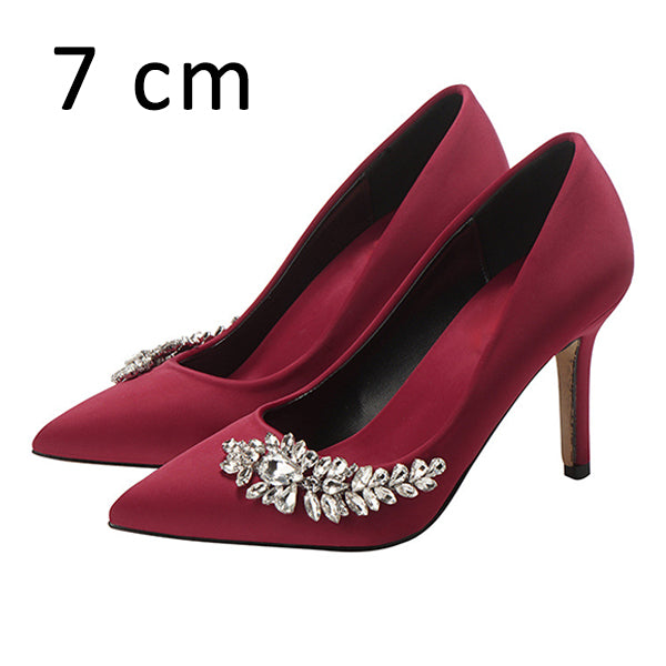 Women Wedding Shoes High Heels Rhinestone Silk Pumps Pointed Toe Party Shoes Plus Size