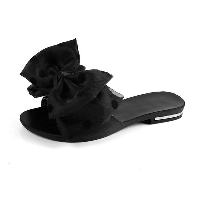 Women Flat Sandals Bowtie Slipper Flats Sandal Open Toe Summer Shoes Party Beach Footwear