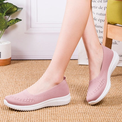 Women Mesh Flat Shoes Patchwork Slip-on Cotton Casual Walking Sneakers Loafers Soft Shoes