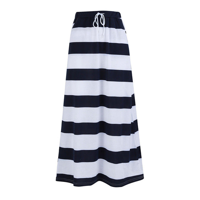 Women Plus Size Maxi Skirt Summer Casual Striped Long Daily Wear High Elastic Waist Bandage Underskirts