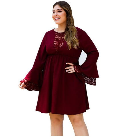 Women Plus Size Dress O-Neck Office Lady Solid Burgundy Lace Stitching Ruffled Sleeve Mini Dresses