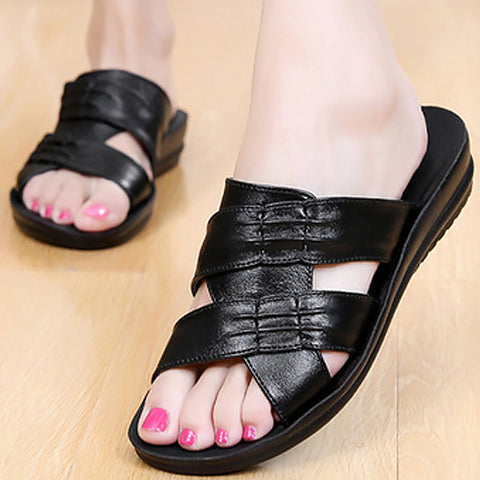 Wedges sandals Summer Best shoes woman Comfortable Genuine leather Peep Toe Ankle-Strap BASSIRIANA - Shoes