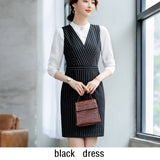 Women Suits Slim Long Sleeve Stripe Jacket 2-piece Set Formal Dresses