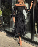 Women Dress Spring Summer Plus Size Polka Dot Lace Mesh Maxi Evening Party Dresses