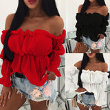 Women Tops Blouses Solid Color Off Shoulder Ruff Sleeve Long Sleeve Ruffled Blouse Shirts