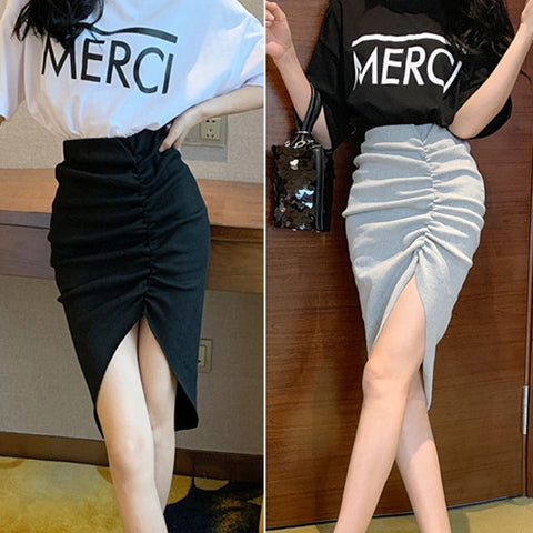 Women Temperament Gentle Warm Short V-neck Shirt Solid Comfortable Slim Asymmetrical Skirts 2 Sets