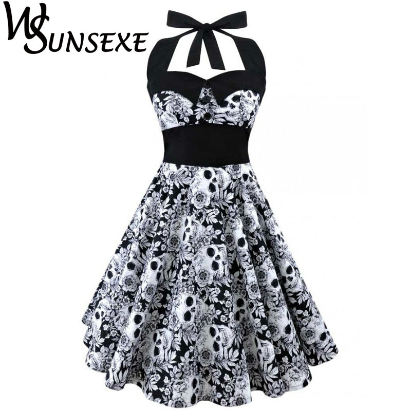 Retro Vintage Sleeveless 3D Skull Floral Printed Summer Dress Halter Plus Size Party Sexy Casual Dress