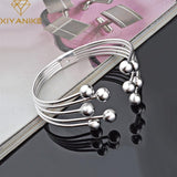 925 Sterling Silver Bead Bangles Bracelet Women Lovers Classic Simple Jewelry Adjustable