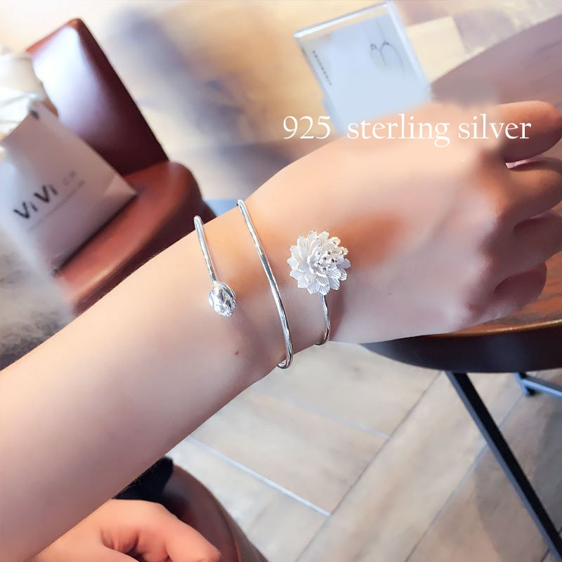 925 Sterling Silver Lotus Flower Bracelet Women Silver Color Flower Bracelets Wedding Jewelry