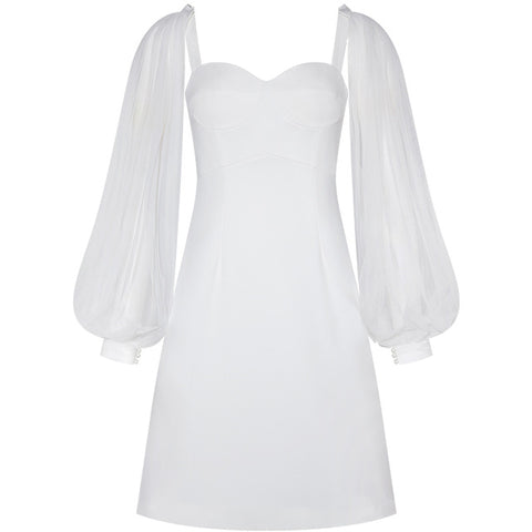 White Dress Square Collar Three Quarter Sleeves Elegant Lantern Sleeves Short Dresses