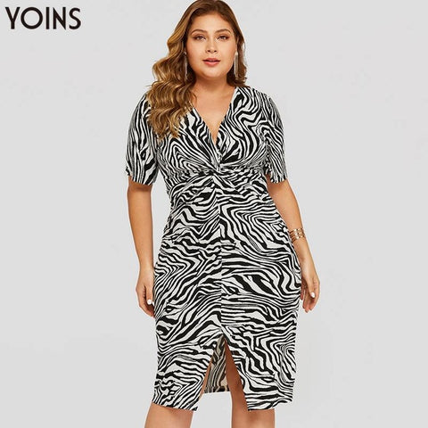 Plus Size Zebra Slit Hem Twisted V-neck Short Sleeve Dress Women Midi Dresses