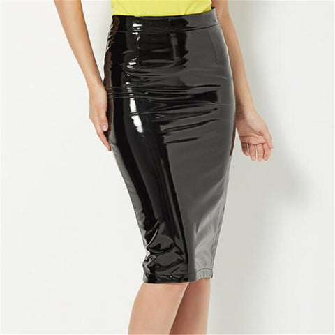 Split Vintage Mini Bodycon Skirt High Waist Women Pencil Solid Office Skirts