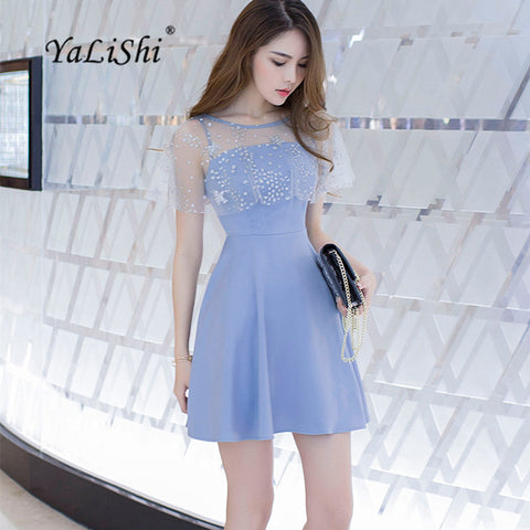 Summer Blue O-Neck Sleeveless A-Line Dress Party Bandage Bodycon Gauze Sequined Dresses Women