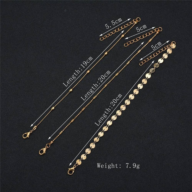 Chain Anklet On Leg Foot Bracelet Women Simple Slim Adjustable Wire Ankle Summer Beach Jewelry